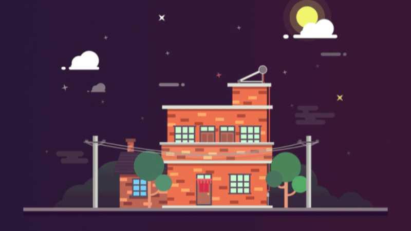 PS制作一副扁平化夜景房屋插画