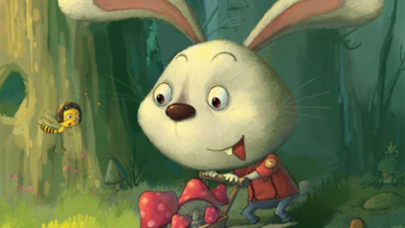 PS鼠绘在森林里采蘑菇的小兔子