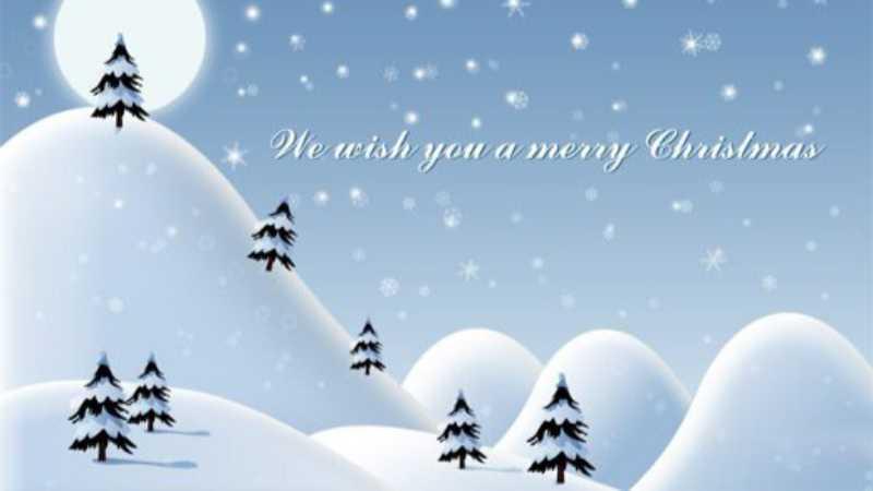 ps设计淡蓝色白雪皑皑的圣诞节贺卡