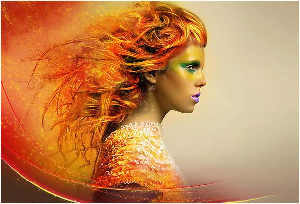 PS打造人物头像绚丽橙红色彩妆(1)