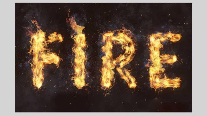 Photoshop设计时尚大气的燃烧火焰字