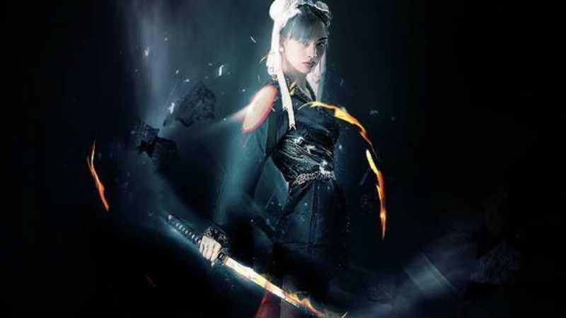 PS合成超酷光影效果中的炫酷美女武士图片