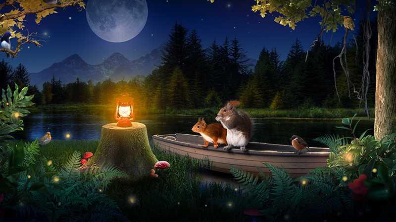 PS合成宁静月夜趣味场景