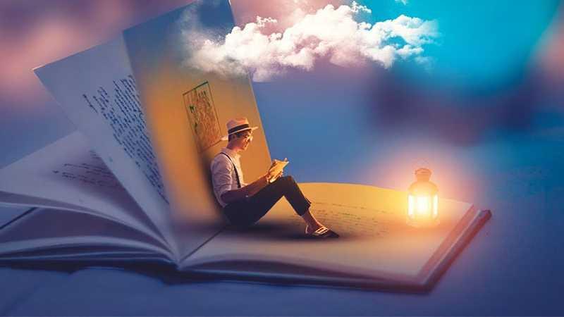 PS合成书中阅读少年梦幻场景