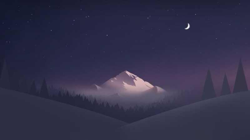 PS绘制小清新雪山夜景桌面壁纸