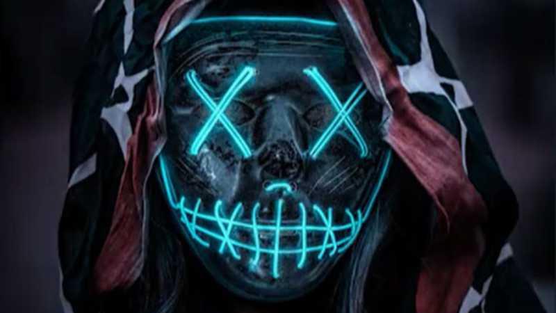 PS合成暗夜中的鬼脸面具人