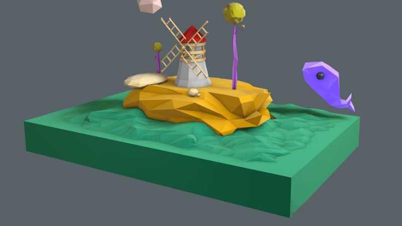 C4D制作低多边形风格的3D场景图