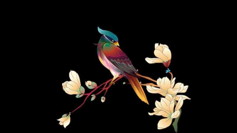 AI绘制中国传统矢量花鸟画
