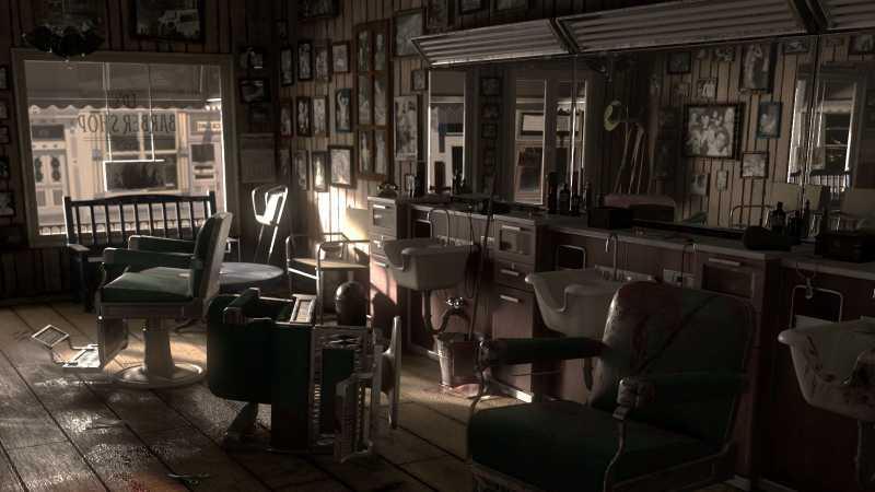 Maya设计黑色电影概念理发店犯罪现场场景