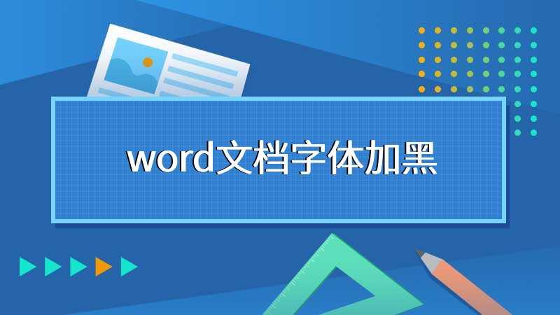 word文档字体加黑