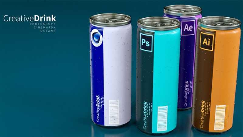 C4D制作一罐PS饮料