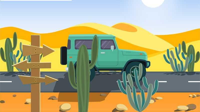 AE+AI制作行驶在沙漠里的小汽车动效