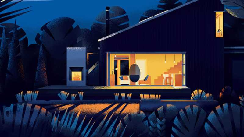 AI+PS绘制静谧夜晚下温暖的庭院插画