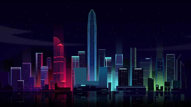 AI+PS绘制五彩斑斓的炫酷深圳夜景