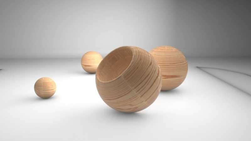 C4d制作带木纹理材质圆形球体模型