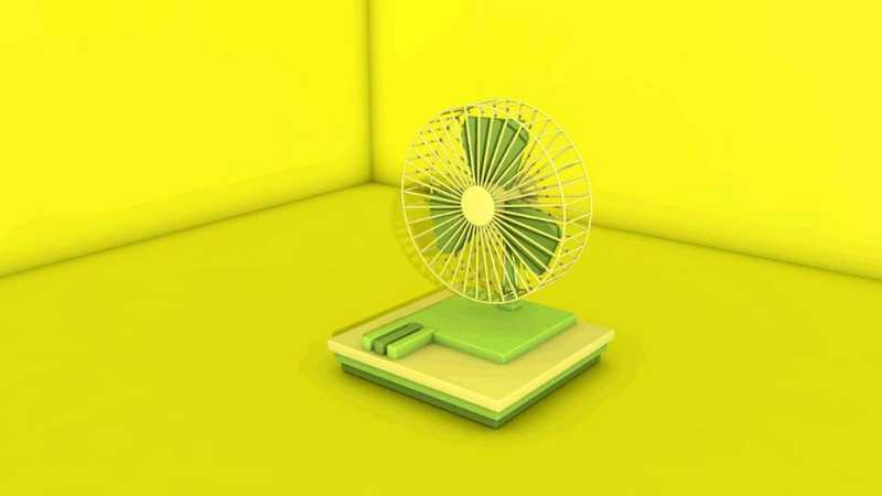 C4D制作一个会转的迷你电风扇动画