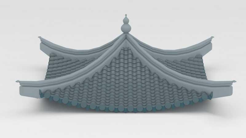 3Dmax制作逼真的古典凉亭顶效果图