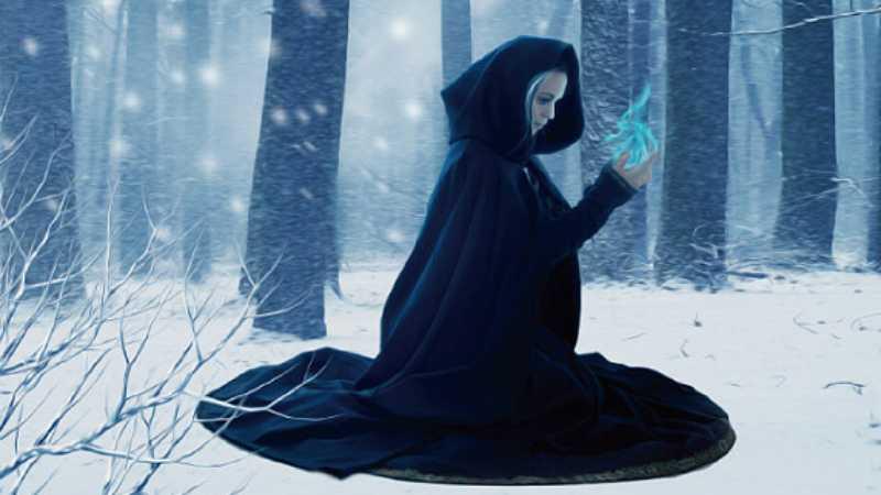 ps合成冬季树林中的魔法师