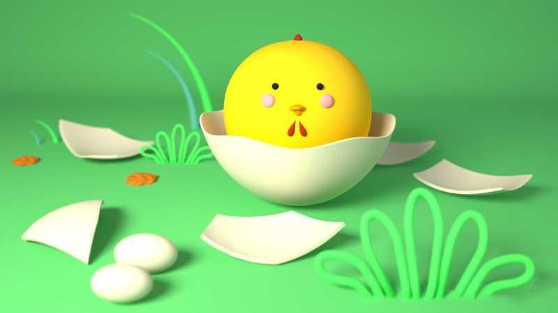 C4D制作吉祥物小鸡模型