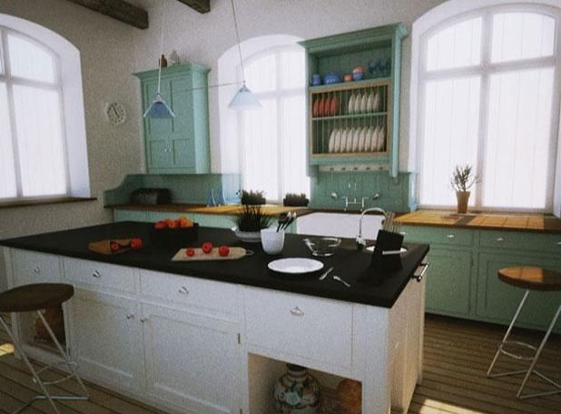 3ds Max打造西式厨房局部模型图