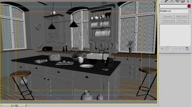 3ds Max打造西式厨房局部模型图(4)