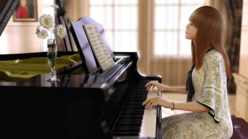 3dsmax制作美女弹钢琴场景建模
