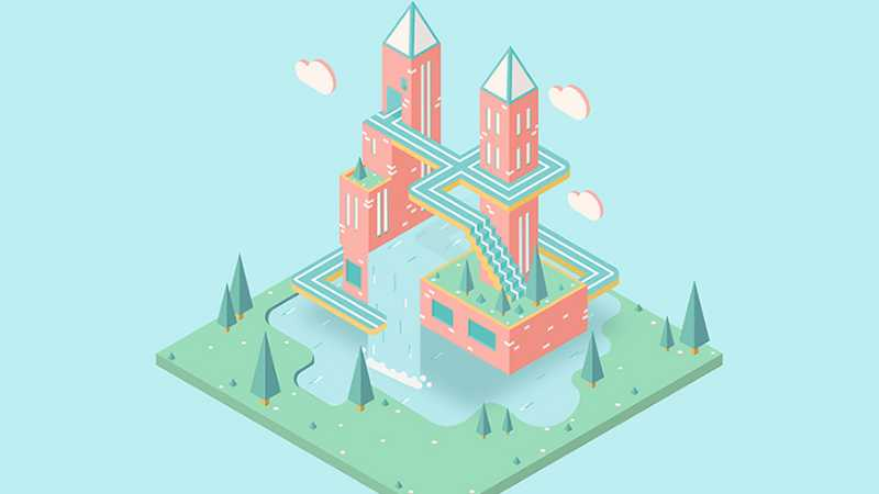 AI绘制纪念碑谷风梦幻城堡