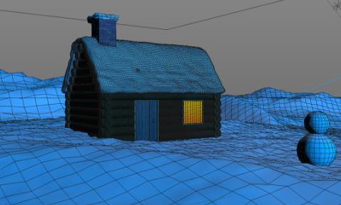 C4D制作户外雪景房子场景教程