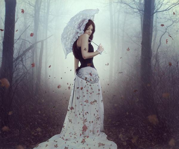 ps合成秋天树林中的美女场景