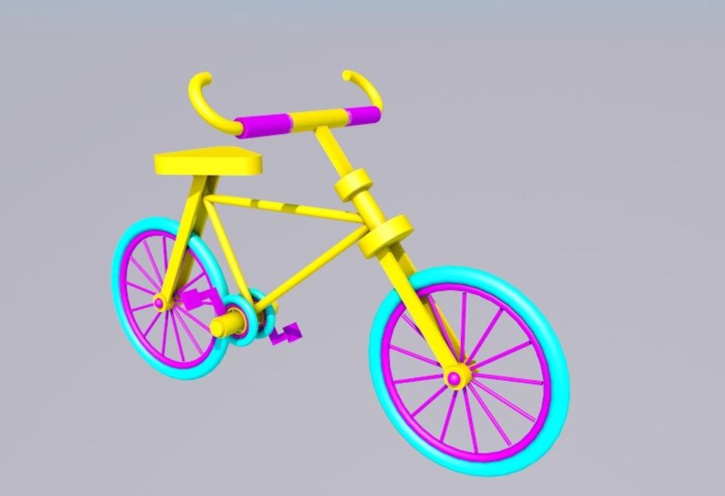 C4D制作简单自行车渲染模型