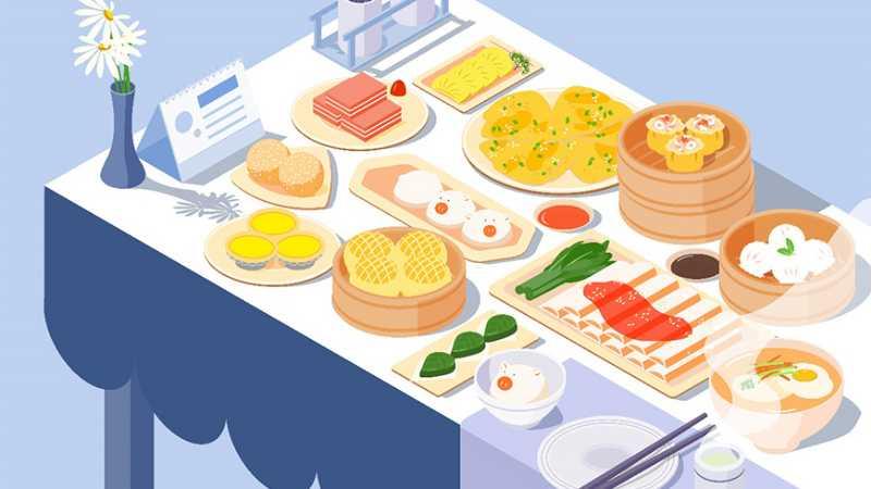 AI绘制等距广式早茶美食插画