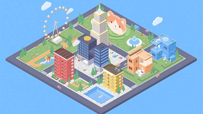 AI绘制等距风格城市场景插画