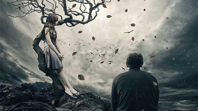 ps合成在枯树下分手的情侣场景