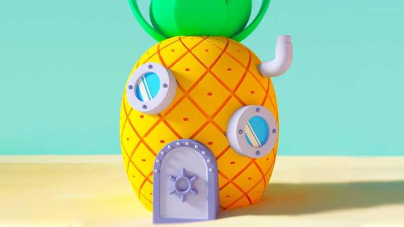 C4D制作海绵宝宝的菠萝屋