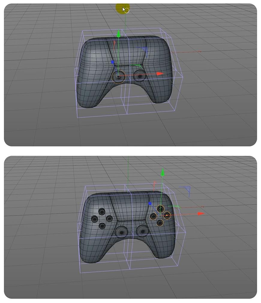C4D制作卡通风格PS5手柄(6)