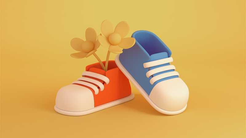 C4D制作可爱卡通球鞋