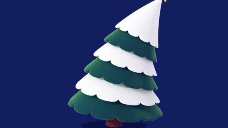 C4D制作可爱扭扭圣诞树动画
